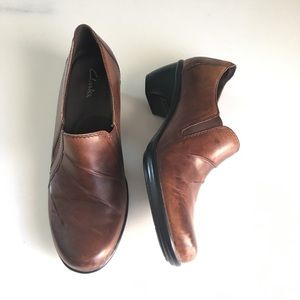 Clark's Partridge Brown Leather Heeled Loafers 8